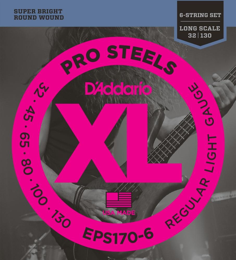 EPS170 ProSteels Комплект струн для бас-гитары, Light, 45-100, Long Scale, D'Addario