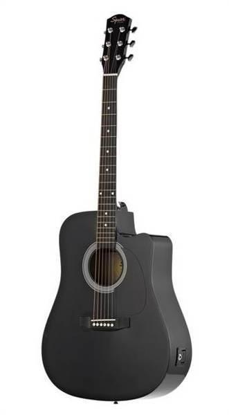 FENDER SQUIER SA-105CE DREADNOUGHT BLACK W/FISHMAN PREAMP гитара электро-акустическая с пьезо-звукос