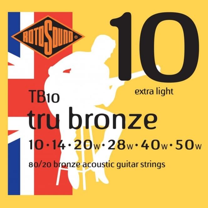 ROTOSOUND TB10 STRINGS 80/20 BRONZE струны для акустической гитары, покрытие - бронза 80/20, 10-5