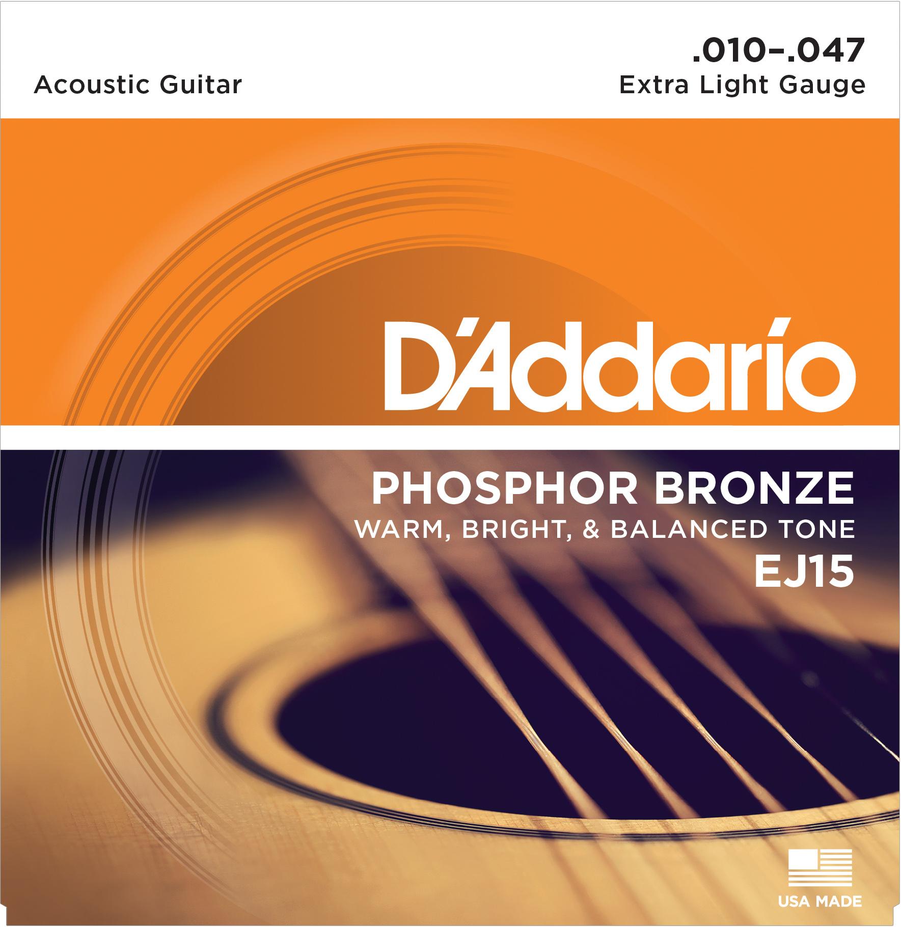 D'Addario EJ15 Набор 6 струн для гитары акустик фосфор-бронза 010-047