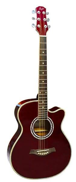 FLIGHT F-230C WR - фолк гитара с металлическими струнами, верхняя дека - ель, корпус - агатис, цвет