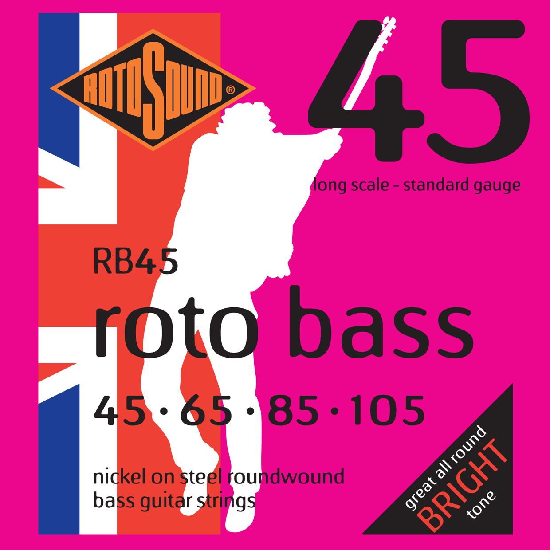 ROTOSOUND RB45 NICKEL (UNSILKED) 45 65 85 105 струны для басгитары, никелевое покрытие, 45-105
