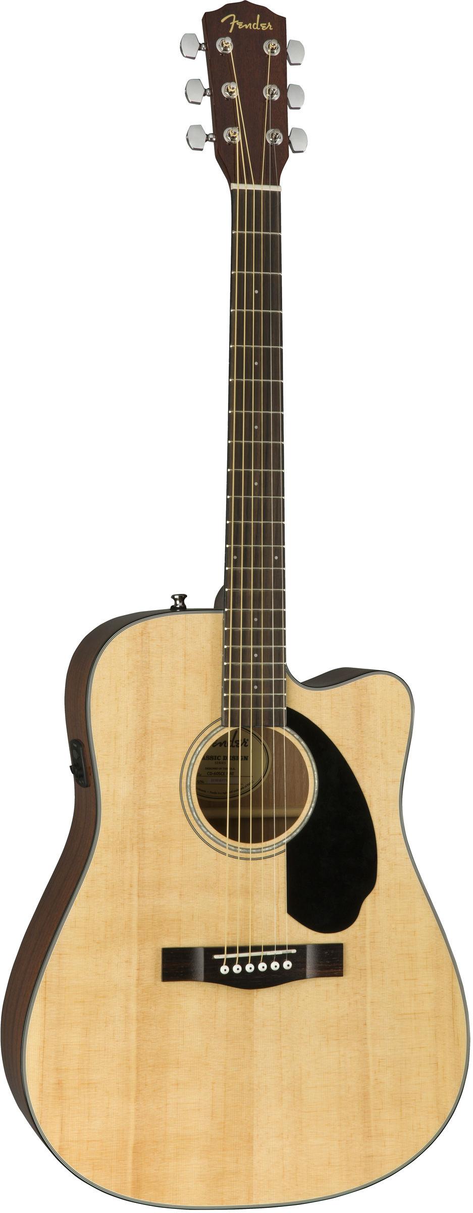 FENDER CD-60SCE NAT электроакустическая гитара, топ - массив ели, цвет натуральный
