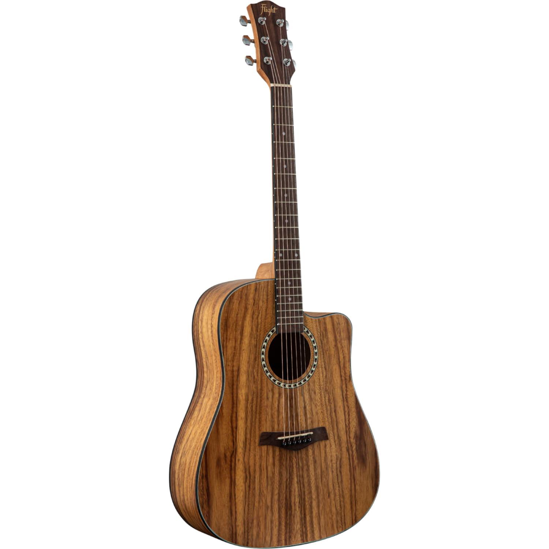 FLIGHT D-155C TEAK NA  - акустическая гитара с вырезом, в.дека-тик, корпус-тик, цвет натур
