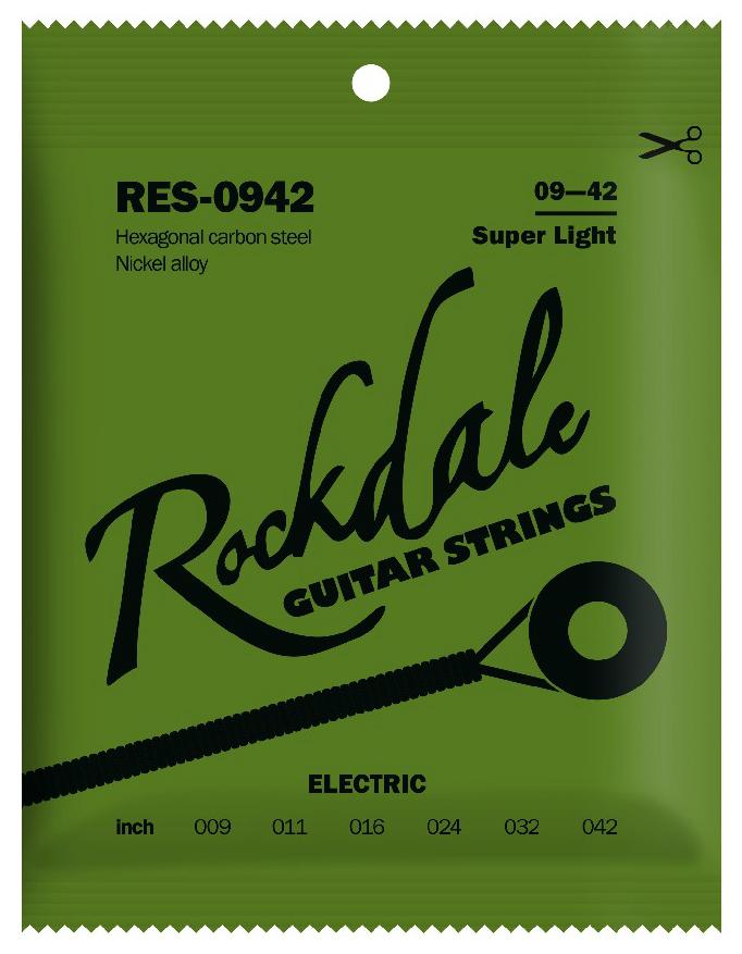 ROCKDALE RES-0942 Струны для электрогитары с шестигранным сердечником и никелевым покрытием. Цветная