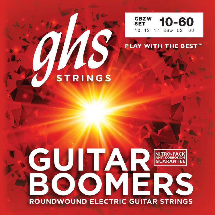 GHS GBZW - струны для электрогитары, никелир.сталь, кругл.обмотка; (010-013-017-36w-52-60)