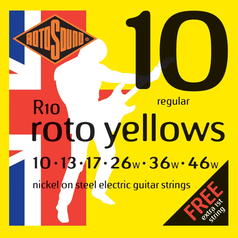 ROTOSOUND R10 STRINGS NICKEL REGULAR струны для электрогитары, никелевое покрытие, 10-46