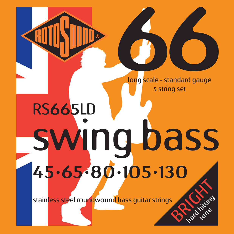 ROTOSOUND RS665LD BASS STRINGS STAINLESS STEEL струны для 5-струнной басгитары, сталь, 45-130
