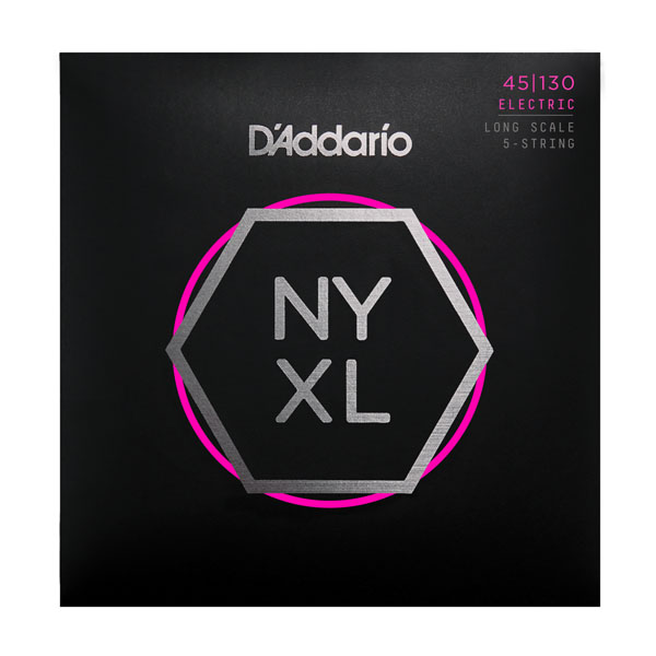 NYXL45130SL NYXL Комплект струн для 5-стр бас-гитары, никел, Super Long, RegLight, 45-130, D Addario