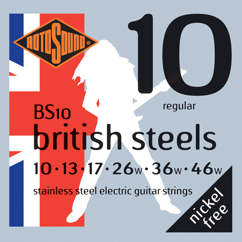 ROTOSOUND BS10 STRINGS STAINLESS STEEL струны для электрогитары, стальные, 10-46