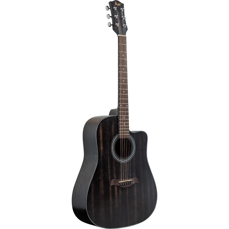 FLIGHT D-155C MAH BK - акустическая гитара с вырезом, в.дека-махагони, корпус-махагони, цвет черный