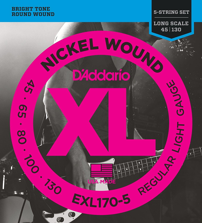 D ADDARIO EXL170-5 Nickel Wound 5-String Bass, Light, 45-130, Long Scale -