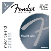 Nylon Acoustic Strings, 100 Clear/Silver, Tie End, Gauges .028-.043, 3-Pack фото