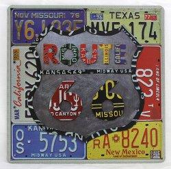 Музыкальный сувенир Металлическая табличка эмалировонная ROUTE 66 30 х 30 см.
