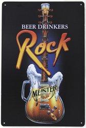 Музыкальный сувенир Металлическая табличка эмалировонная ROCK BEAR DRINKERS 20 х 30 см.