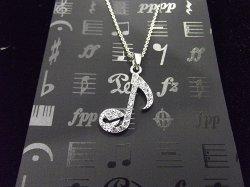 Музыкальный сувенир Кулон НОТА 8 в восьмушке Цвет: серебро, золото