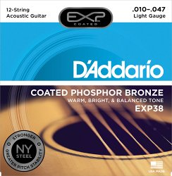 D`ADDARIO EXP38 COATED PHOSPHOR BRONZE 12-STRING LIGHT 10-47