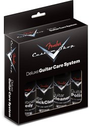 FENDER® Custom Shop Deluxe Guitar Care System, 4 Pack, Black
