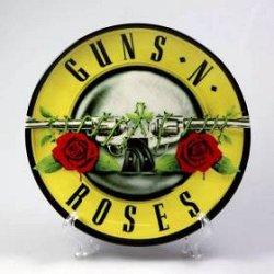 Музыкальный сувенир Тарелка Guns`n`Roses ( лого с пистолетами жёлтое )