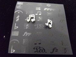 Музыкальный сувенир Серьги-гвоздики НОТЫ 16-е-сердечки 1,0 см.