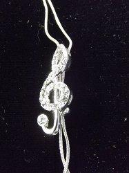 Музыкальный сувенир Цепочка-галстук Скрипичный ключ 3,5 см. Цвет: серебро, золото