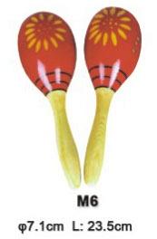 M6 Деревянные маракасы на ручке, диаметр 7.2cм, длина 23.5см