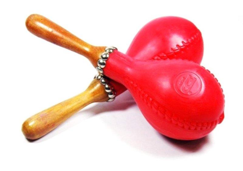 DADI MA02 Маракасы большие на ручке, из мягкого пластика, цвета: желтый, красный, 2 штуки.
