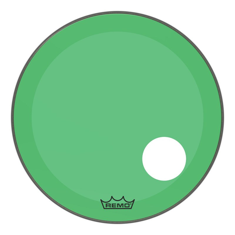 P3-1322-CT-GNOH Powerstroke® P3 Colortone™ Green Bass Drumhead, 22`, 5` Offset Hole