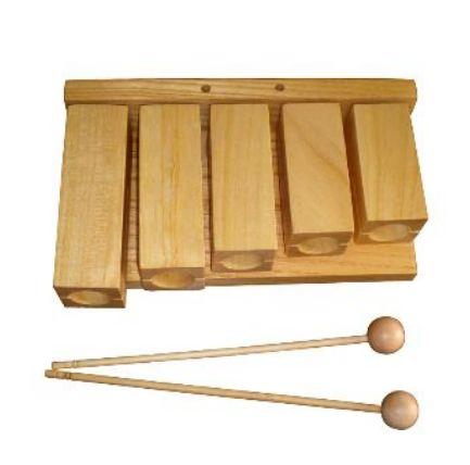 FLT255 Агого, тон-блок деревянный, набор из 5 штук, с палочками