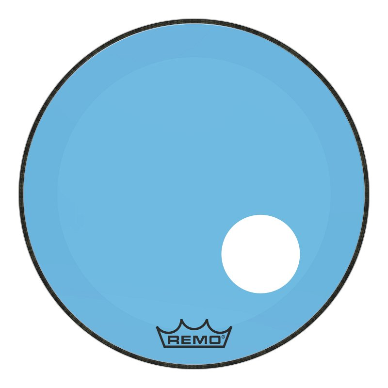 P3-1322-CT-BUOH Powerstroke® P3 Colortone™ Blue Bass Drumhead, 22`, 5` Offset Hole