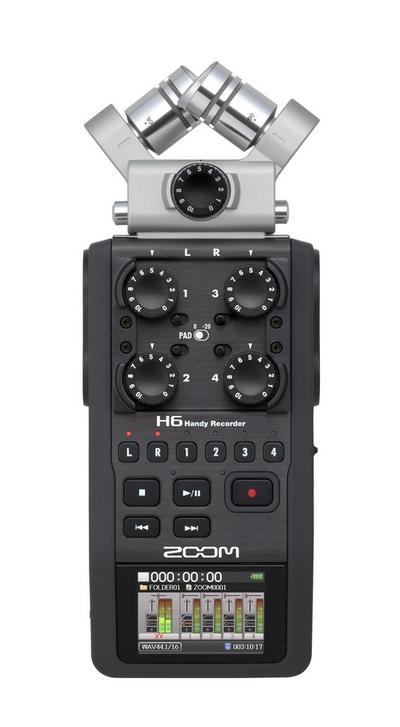 H6 ручной рекордер-портастудия. Каналы - 4/Сменные микрофоны/Цветной дисплей