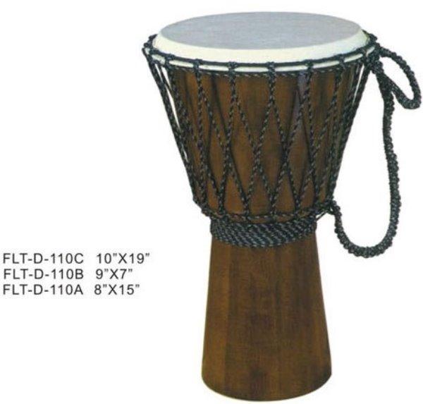 FLT-D-110A Джембе деревянный прямой конус 8`х15`, веревочный бандаж, хромированная стяжка кожи, темный натуральный цвет