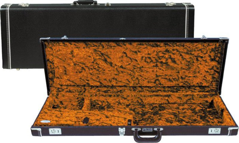G&G Deluxe Strat/Tele Hardshell Case, Black with Orange Plush Interior, Amp Logo