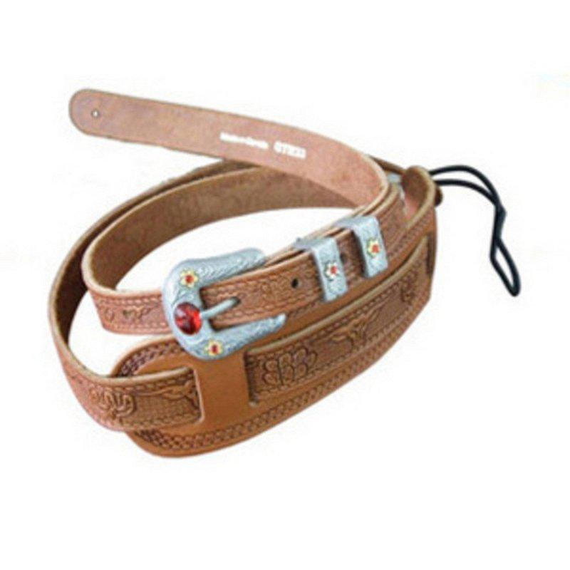 Gretsch Tooled Vintage Leather Guitar Strap, Russet