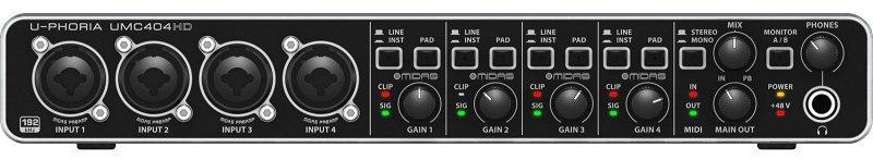 UMC404HD - аудиоинтерфейс, 4 входа, 4 выхода, микр. пред. MIDAS