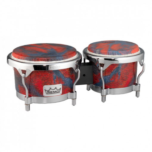 BG-7821-CV- Bongo, Drum, Valencia Series, 7/8.5` X 6`, SKYNDEEP® Tucked Drumhead, Calfskin Graphic, Petrified Cave Finish, Chrome Curved Hoops