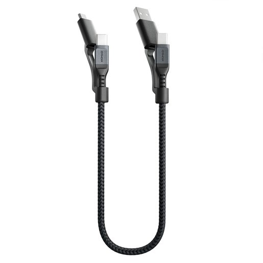 NOMAD UNIVERSAL CABLE KEVLAR 3 IN 1 TYPE-C TO TYPE-C, MICRO USB,USB-A 0,3M -BLACK