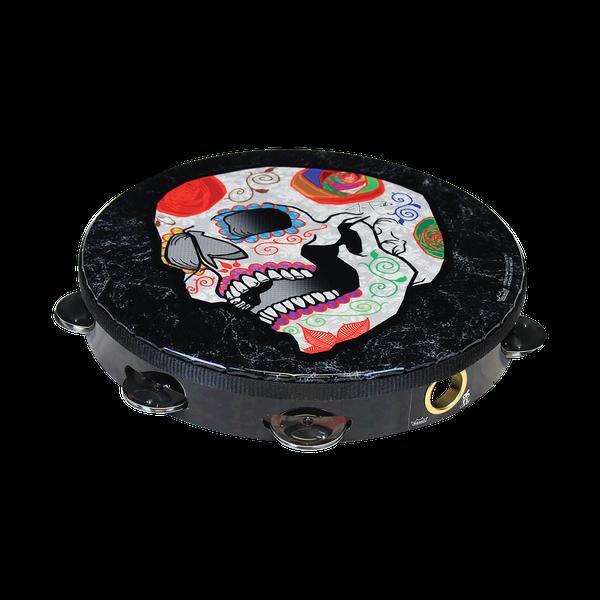 TA-9110-70-AB002 Tambourine, Pre-Tuned, 10` Diameter, 8 Pairs Jingles x 1 Row, Quadura Black.