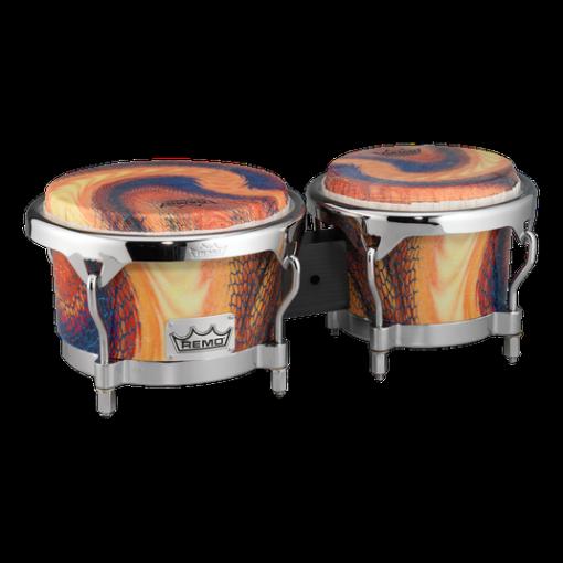BG-7821-SD- Bongo, Drum, Valencia Series, 7/8.5` X 6`, SKYNDEEP® Tucked Drumhead, Calfskin Graphic, Serpentine Day Finish, Chrome Curved Hoops