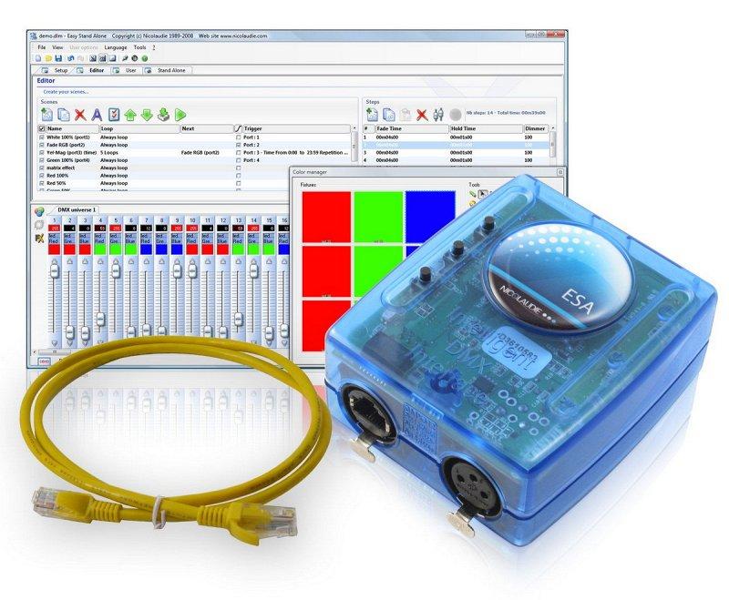 SLESA-IP1 - Ethernet DMX-интерфейс для архит. освещ., 1 DMXOut, 32К память.