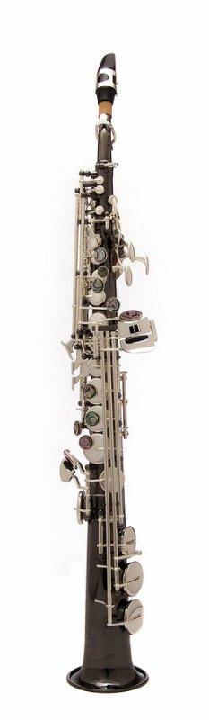 JP043BS Саксофон сопрано Bb, студенческая модель, прямой, черный, посеребренные клапаны