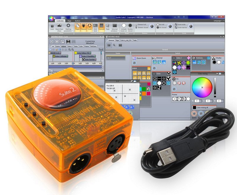 SUITE2-EC - Мини USB/DMX-интерф, 1 DMXout+1DMX I/O+2 комп разъём, кабель