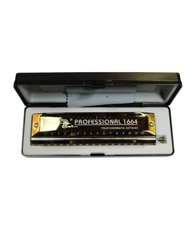SW1664-1 C-major Губная гармошка хроматическая, золотистая