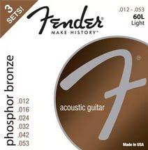 Phosphor Bronze Acoustic Guitar Strings, Ball End, 60L .012-.053 Gauges, 3-Pack