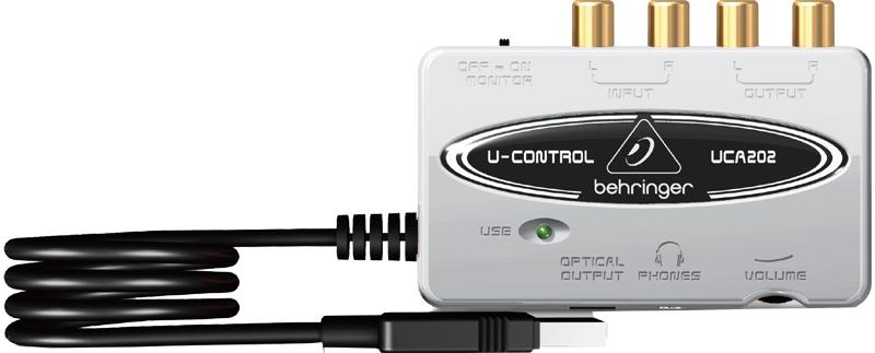 UCA202 -USB-аудиоинтерфейс, 16 бит/48 кГц, 2входа, 2 выхода, SPDIF