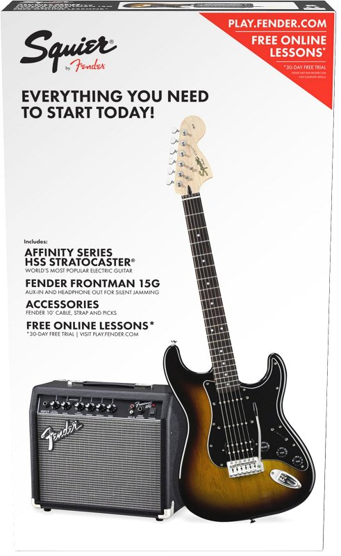 Squier Affinity Series™ Stratocaster® HSS Pack, Laurel Fingerboard, Brown Sunburst, Gig Bag, 15G - 230V EU