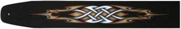1G4-18 Ремень для гитары, двухслойная кожа, рисунок, 65мм. фото