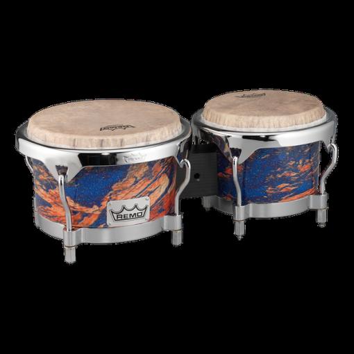 BG-7821-MS- Bongo, Drum, Valencia Series, 7/8.5` X 6`, SKYNDEEP® Tucked Drumhead, Calfskin Graphic, Molten Sea Finish, Chrome Curved Hoops