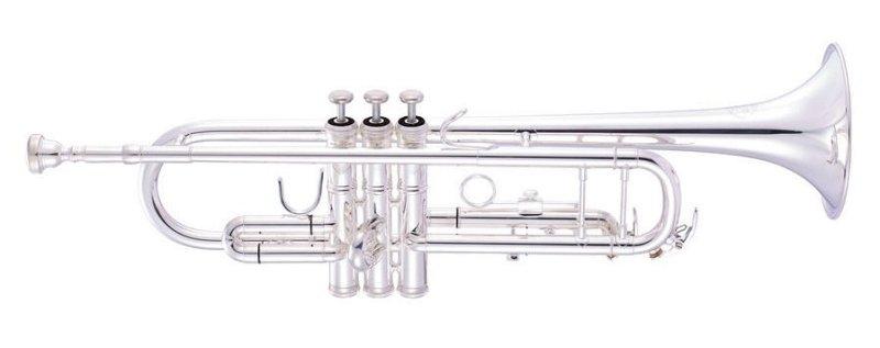 JP151S MKII Труба Bb, полупрофессиональная помповая модель, посеребренная, 2 водных клапана, с двумя стойками на цен