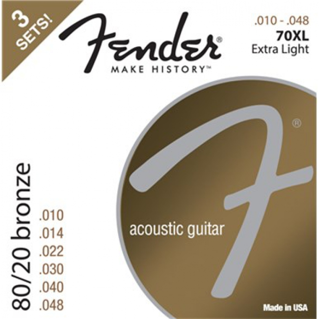 80/20 Bronze Acoustic Strings, Ball End, 70XL .010-.048 Gauges, 3-Pack